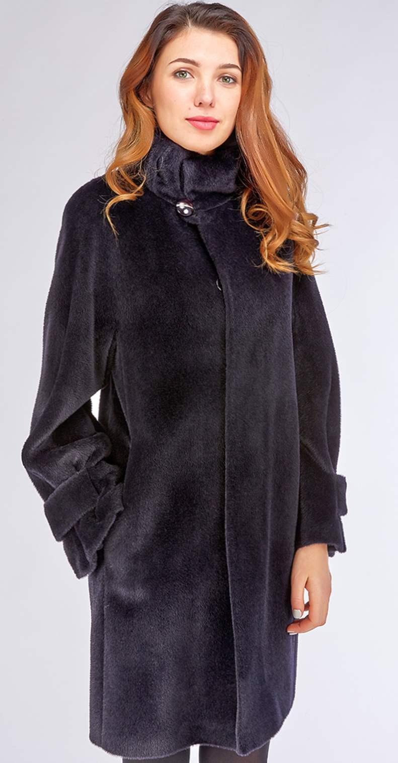 Темно-синее женское пальто из альпака модного фасона оверсайз